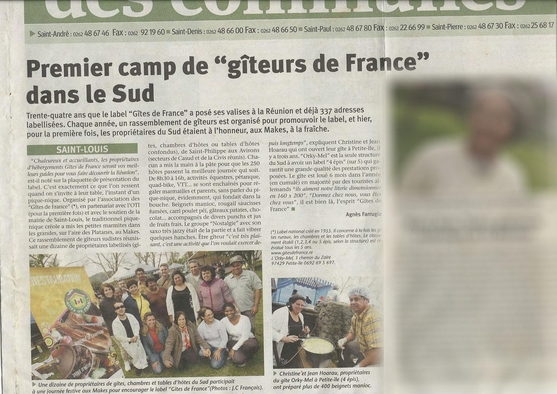 Premier camp de giteurs de france dans le sud de La Réunion